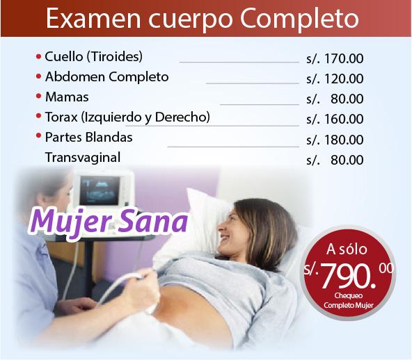 examen de mujer ecografia, cuello, abdomen, mamas, torax, transvaginal
